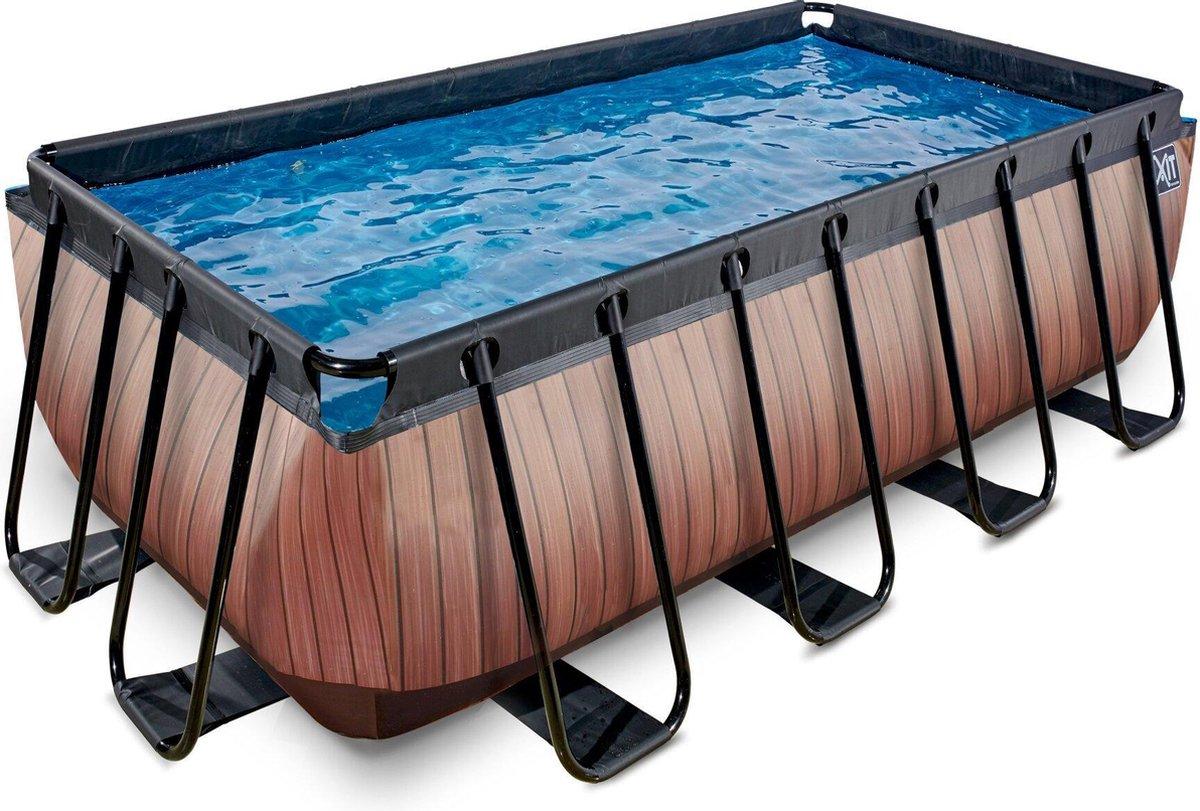 EXIT Wood zwembad 400x200x122cm met filterpomp - bruin