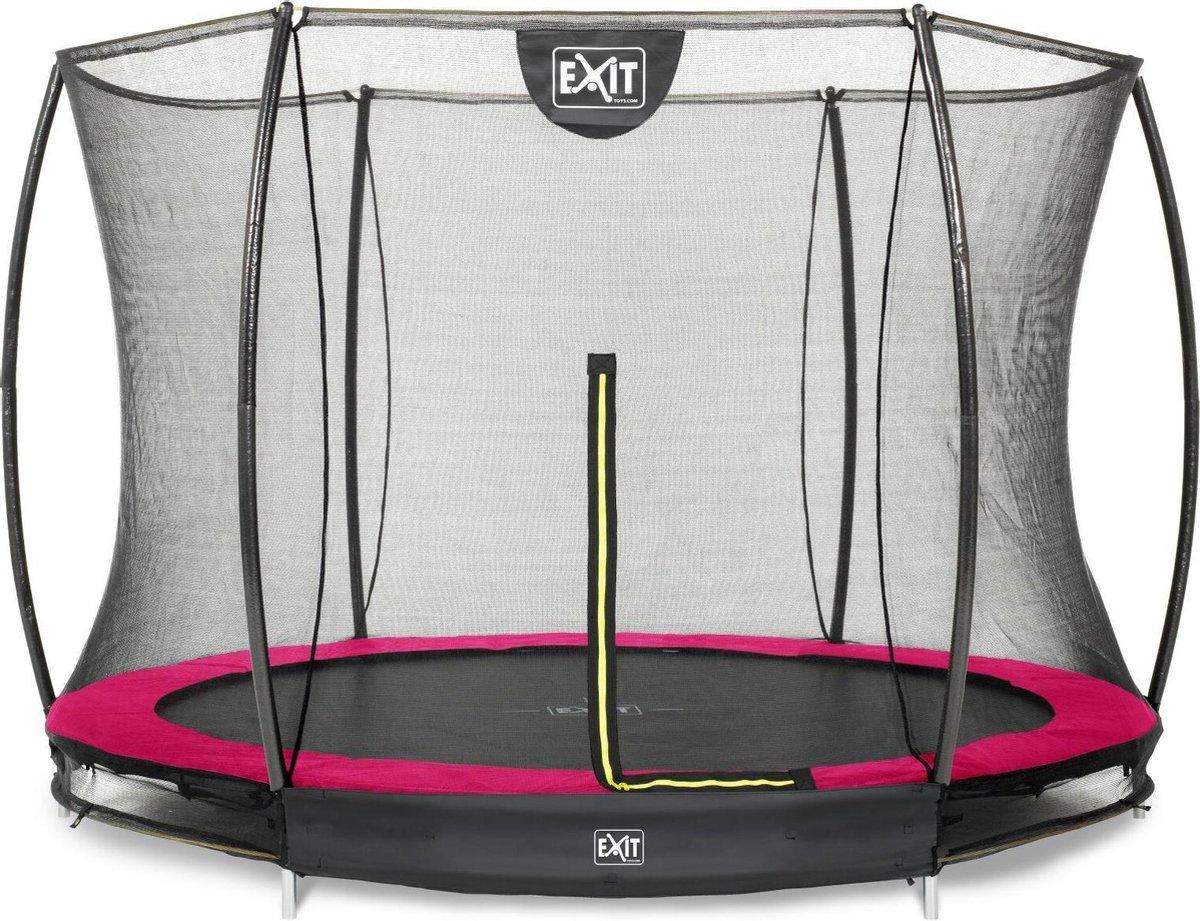 Trampoline EXIT Silhouette inground - ø244cm met veiligheidsnet - roze