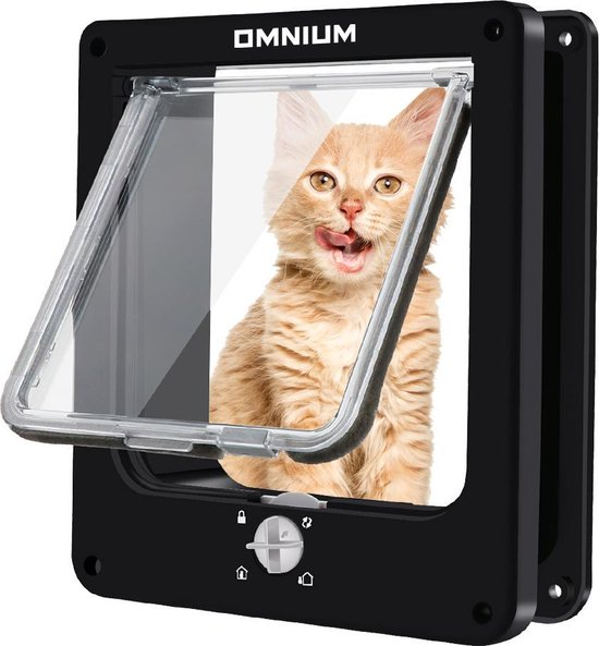 Omnium - Kattenluik Met Tunnel - Hondenluik - 4 Vergrendelingsstanden - Grote Kat - Buitendeur - Maat L - Zwart