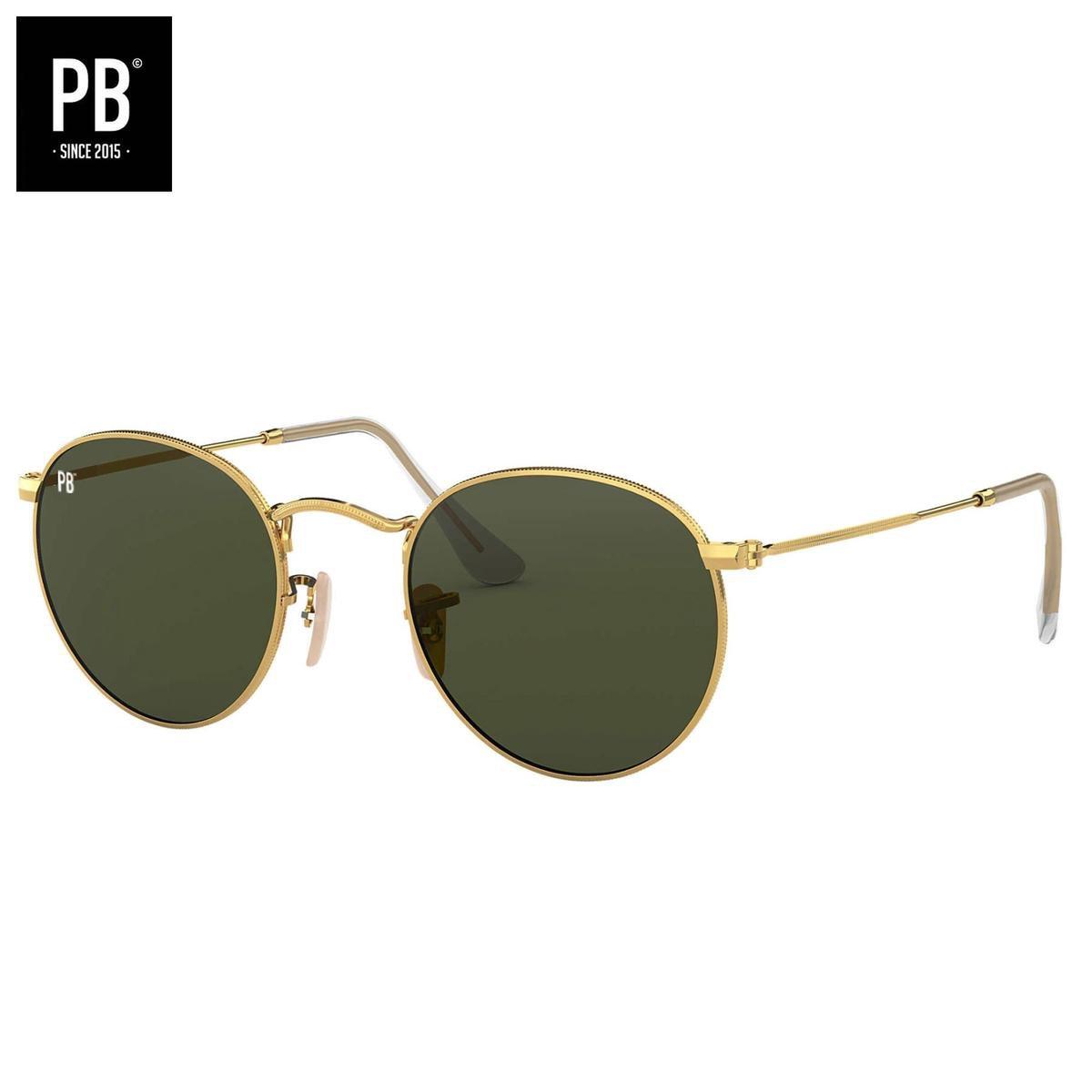 PB Sunglasses - Round Polarised   Zonnebril heren en dames - Gepolariseerd - Gouden montuur - Ronde zonnebril