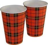 Koffiebeker met Schotse ruit | 180cc | 300 stuks | Kartonnen beker | Papieren beker| Drinkbeker