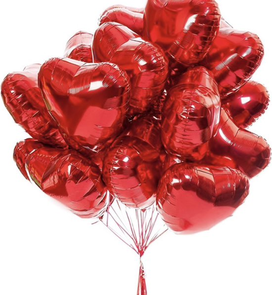 ballonen Hartjes Ballonnen Rood 10 Stuks   Folie Ballonnen set voor Valentijnsdag   Helium Ballon   Party Feest Ballonen   Romantische Versiering - 45cm