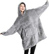 JAXY TV Deken - Oodie - Huggle Hoodie - Hoodie Deken - Hoodie Blanket - Deken Met Mouwen - Oversized Hoodie - Fleece Deken - Sherpa - Indoor/Outdoor Coat - Grijs