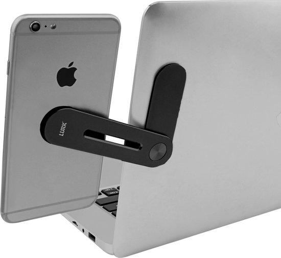 LURK® smartclip ALU telefoonhouder 2.0 – Magnetische beeldscherm monitorclip voor Laptop, Computer of Tablet – multi monitor set up universeel - extra scherm – Aluminium zwart