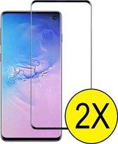 Samsung Galaxy S10 Plus full cover zwart screenprotector glas – Glasplaatje Tempered glass bescherming -  voor Samsung S10 Plus – 1 stuks