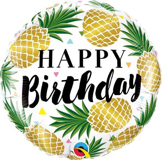 Folie cadeau ballon Gefeliciteerd/Happy Birthday ananas 45 cm - Folieballon verjaardag