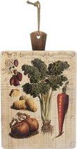 Clayre & Eef Snijplank 35*1*56 cm Meerkleurig Hout groente Rechthoek Broodplank Borrelplank Ontbijtplankjes