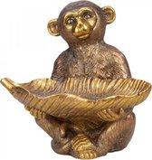 Aapje met schelp in handen bruin / goud H36cm x B38cm