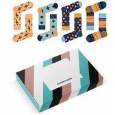Happy Socks Giftbox mannen 41-46 | Mannen Happy Socks 4 paar + verpakking van King of Socks | Van 39,95 voor 27,95