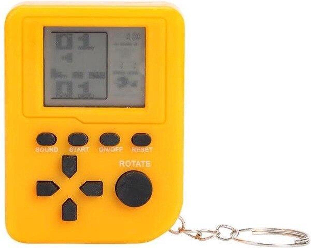 Mini Klassieke Tetris Spel Retro Sleutelhanger Spelcomputer LCD Game - Geel