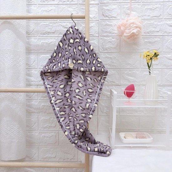 Haarhanddoek met Paarse Panterprint -Sneldrogend - Haartulband - Hoofdhanddoek voor het haar - cadeau