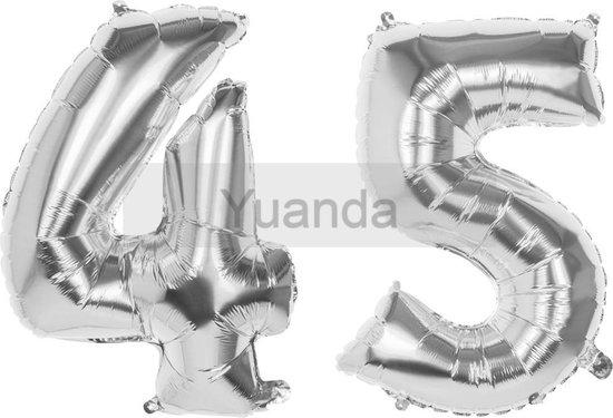 45 Jaar Folie Ballonnen Zilver- Happy Birthday - Foil Balloon - Versiering - Verjaardag - Man / Vrouw - Feest - Inclusief Opblaas Stokje & Clip - XXL - 115 cm
