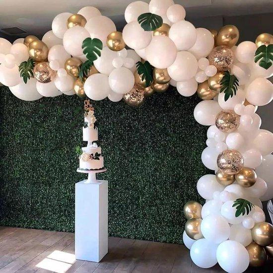 Baloba® BallonnenBoog Goud Wit - Versiering met Papieren Confetti Ballonnen - Verjaardag Bruiloft Versiering - 90 Helium Ballonnen - Met Ballonpomp