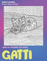 Libri da colorare per adulti - Livello facile dei fiori - Animali Mandala - Gatti