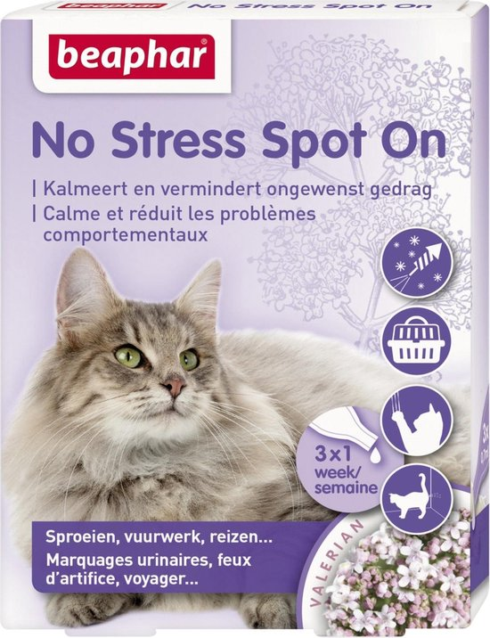 No stress spot on kalmeert en stimuleert goed gedrag kat 3 pip