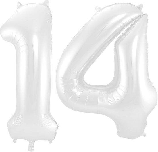 Cijfer 14 Wit Metallic Mat 86 cm