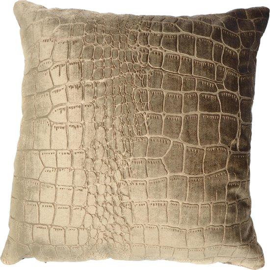 Woonkussen crocoprint, krokodillenprint, krokodil, goud, en brons ingeweven, velvet kussen. Safari, dierenprint, tijger, olifant, giraffe, panter kussen