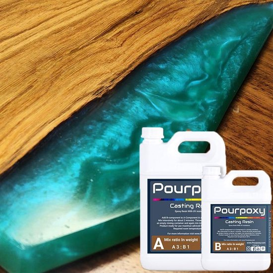 Afbeelding van Epoxy giethars | 1 KG | Pourpoxy | Crystal Clear | Tot 5 cm gieten| Epoxyhars |bevat UV blocker speelgoed
