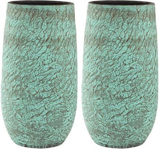 Set hoge vazen in mint met goud shimmer keramiek - grote vaas bloempot plantenbak