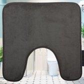 Decopatent® Toiletmat - Wc matjes met anti slip - Wc / Toilet mat - wc matje antislip - Toilet contour mat- Afm 48x48 Cm - Grijs