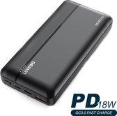 Luvego 20000 mAh Powerbank - USB, USB-C én Micro-USB aansluiting met snelladen - Quick Charge (QC 3.0) & Power Delivery (PD) - Externe batterij powerbank voor smartphones en tablets