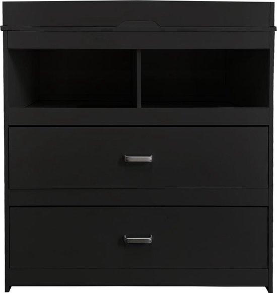 Product: Commode Pukkie - aankleedtafel - ladekast babykamer - zwart, van het merk VDD