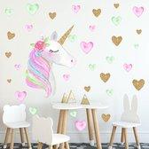 Muursticker | Unicorn | Eenhoorn | Hartjes | Rose | Goud | Wanddecoratie | Muurdecoratie | Slaapkamer | Kinderkamer | Babykamer | Jongen | Meisje | Decoratie Sticker |