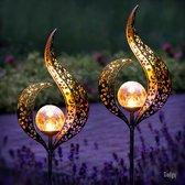 Gadgy Solar Flame Lamp met grondspies – Solar Tuinverlichting - set van 2 st.– 93,5 cm hoog – Brons kleurig metaal – Tuinverlichting op zonneenergie buiten – Led buitenverlichting met sensor - Tuinfakkel - Tuinsteker