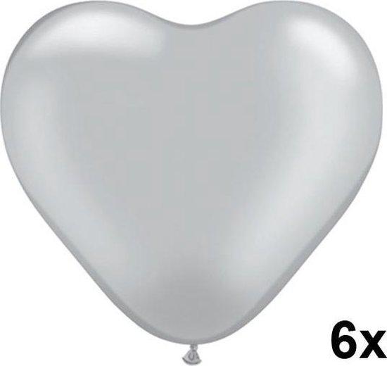Hartjes ballonnen zilver, 6 stuks, 28cm