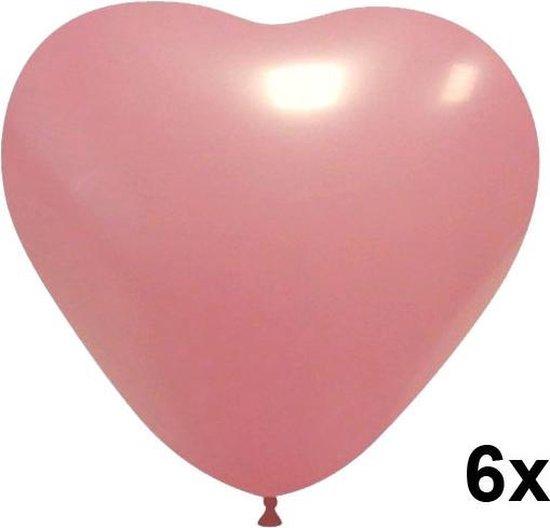 Hartjes ballonnen (licht)roze, 6 stuks, 28cm