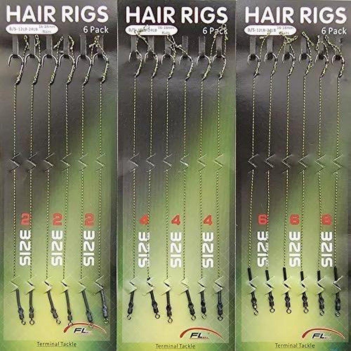 Onderlijnen - Onderlijnen karper - Gevlochten vislijn - Hair rigs - Karper - Haakmaat 2, 4, 6 - 3 pa