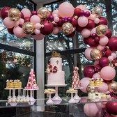 Ballonnenboog - DIY - Roze - Goud Papieren Confetti - incl. ophanghaakjes - Feestversiering