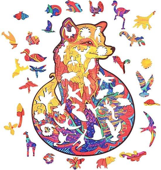 Jigsaw Houten puzzels dierenfiguur A4 formaat – Wooden puzzle -  Leuk voor volwassenen - Unieke Vos vorm -  Educatieve puzzel - Juga puzzelset - Fantastisch cadeau voor vrienden en gezinnen - Huisdecoratie