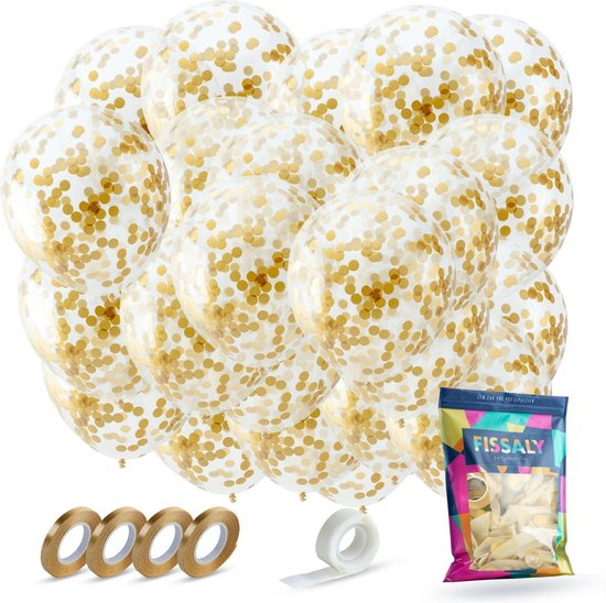 Fissaly® 40 Stuks Luxe Gouden Papieren Confetti Helium Ballonnen met Lint – Decoratie – Latex – Party
