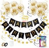 Fissaly® Verjaardag Slinger Zwart & Goud met Papieren Confetti Ballonnen – Decoratie – Happy Birthday