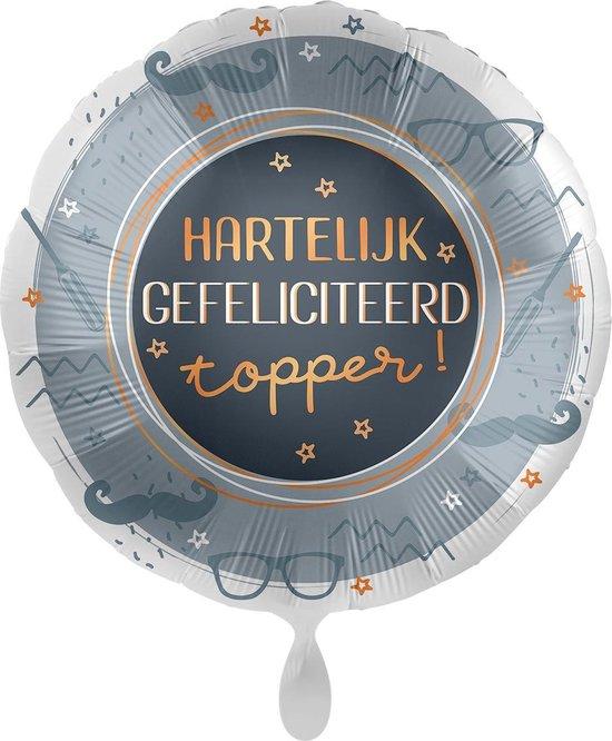 Everloon - Folieballon - Hartelijk Gefeliciteerd – Topper! - 43cm