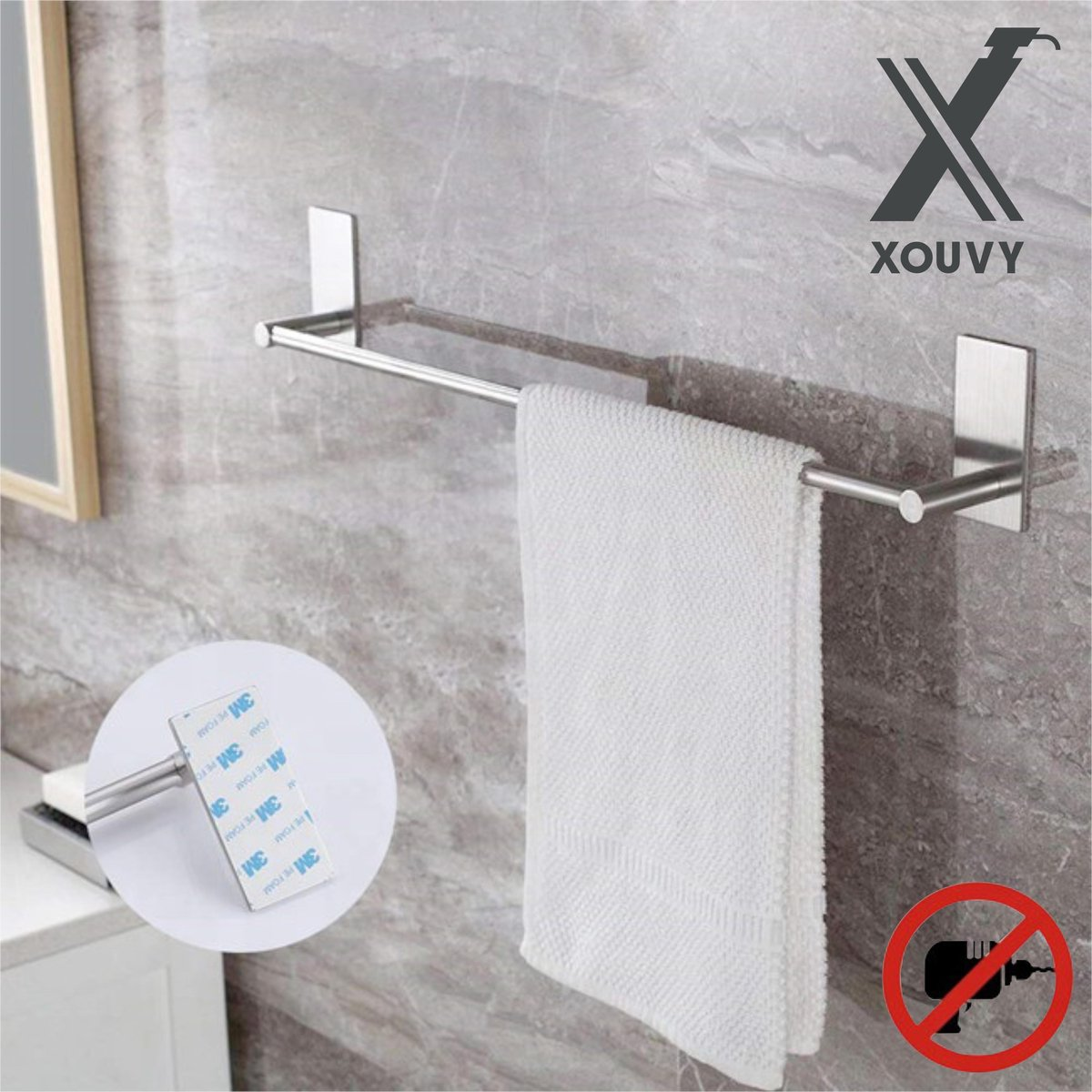 Xouvy zelfklevend handdoekrek 40 cm - handdoekstang - handdoekhouder - zelfklevend - zonder boren - plakstrip - RVS Geborsteld