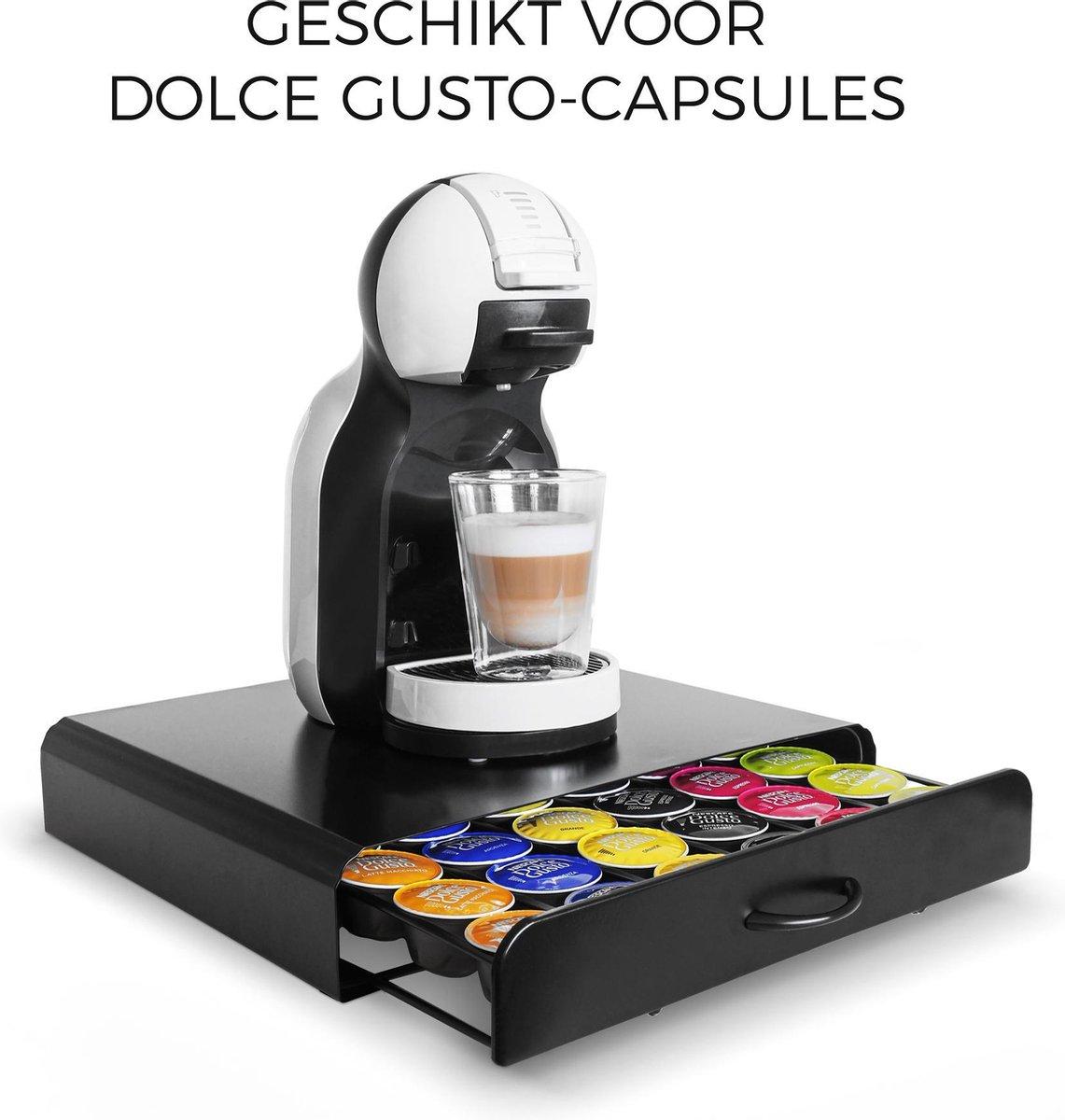 Gadgy Capsulehouder voor Dolce Gusto cups   Koffiecups houder met lade   Zwart - RVS - voor 36 cups