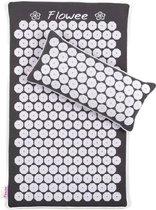 Flowee Spijkermat ECO SET – Spijkermat & Kussen - Grijs met Wit – 99x45cm - Kokosvezels & Boekweitkaf - Acupressuur mat – Acupressure mat