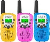 TALK-IT Walkie Talkie Voor Kinderen en Volwassenen - Portofoon - 3KM Bereik - 3 stuks - Geel Roze Blauw - Media Evolution®