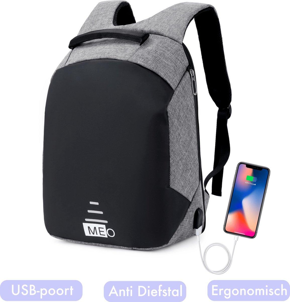 Meo Laptop Rugzak met USB poort – Anti-diefstal Rugzak - Unisex – Waterdichte Rugzak - 20 liter – Zw