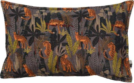 Kussen Oper 30x50cm, Sierkussen van fluweel met een geprinte dierenprint met oranje, groen en zwart tinten.