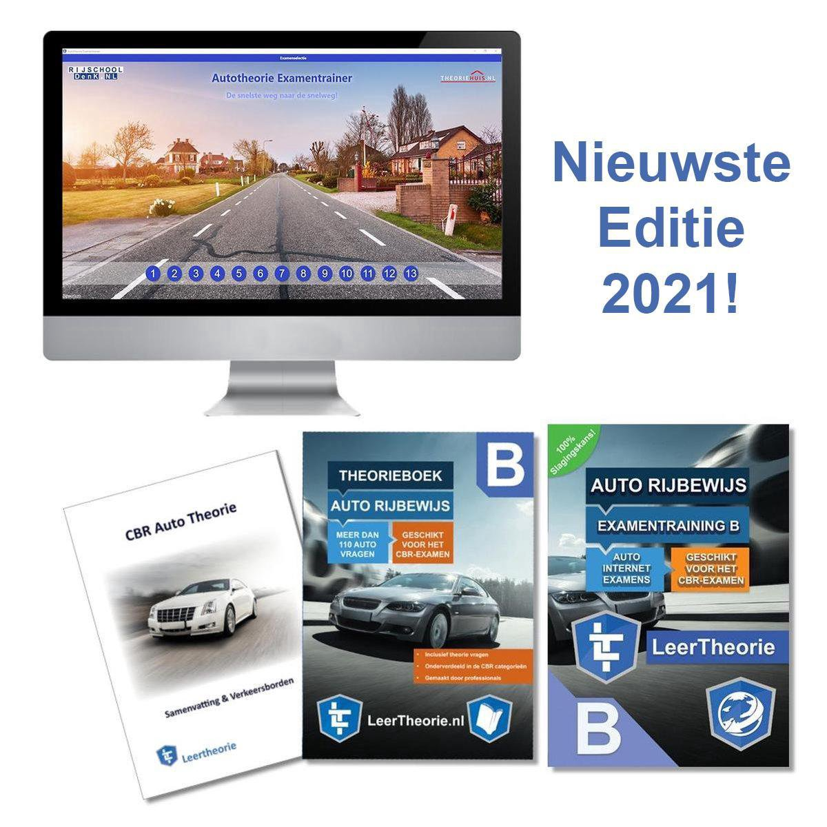 (NIEUW!) Auto Theorieboek Rijbewijs B 2021 + Online Theorie Oefen Examens + Samenvatting