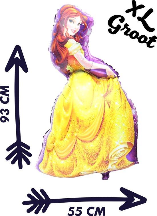 Belle Ballon - XL Groot - 93 x 55 cm - Disney - Belle en het Beest - Beauty and the Beast - Inclusief Opblaasrietje - Ballonnen - Ballonnen Verjaardag - Helium Ballonnen - Folieballon - Ballon Groot - Ballon Film