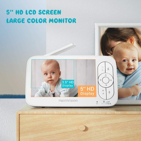 Babyfoon met Camera - 2 Inch Video Babyphone - Baby Monitor met Temperatuursensor - Wit