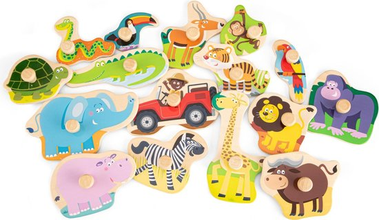 New Classic Toys Houten Legpuzzel Safari Dieren - 16 puzzelstukjes - FSC® 100%-gecertificeerd hout