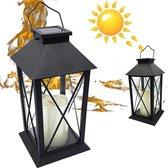 Landelijke Tuin Lantaarn met LED Kaars Solar  - Windlicht op Zonne-Energie -  1 stuk - Tafellamp voor Buiten met Vlameffect