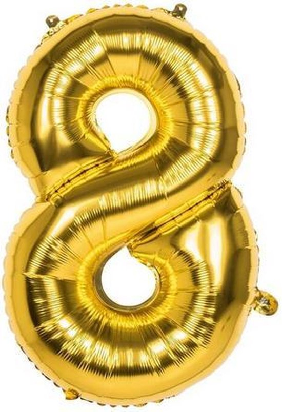 8 Jaar Folie Ballonnen Goud - Happy Birthday - Foil Balloon - Versiering - Verjaardag - Jongen / Meisje - Feest - Inclusief Opblaas Stokje & Clip - XXL - 115 cm
