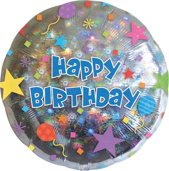 Anagram Folieballon Happy Birthday 20,5 Cm Zilver