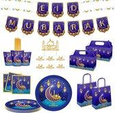 Partizzle® 8 pers. Ramadan Eid Mubarak Feest Versiering - Slingers Wegwerp Servies Bekers Prikkers - Suikerfeest Decoratie 2021